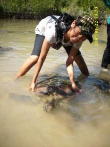 Yuli Sulastri Sedang bercengkerama dengan Penyu Merah di Pulau Penyu